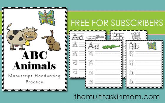 ABC Animals Handwriting Practice Manuscript