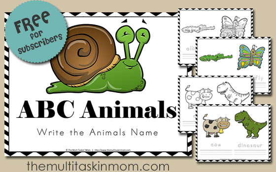 ABC Animals Name the Animal uses cute animals to help your children practice handwriting
