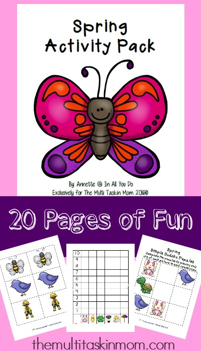 This Spring Activity Pack has 20 pages of FUN! Includes a Matching Game, Sudoku and Graph & Roll Game! :: www.themultitaskinmom.com