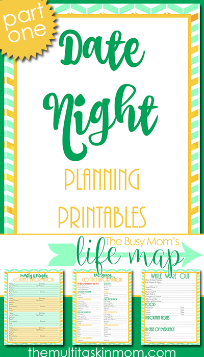 Date Night Planning Printables - Part One of The Busy Moms Life Map