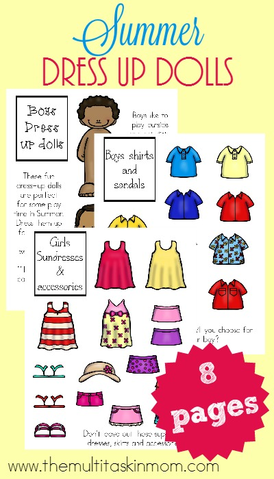 These super adorable Summer Printable Dress-up Dolls are a fun way to play both inside and out for your little ones! :: www.themultitaskinmom.com