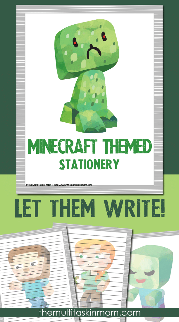Let them write with the new Minecraft Themed Stationery