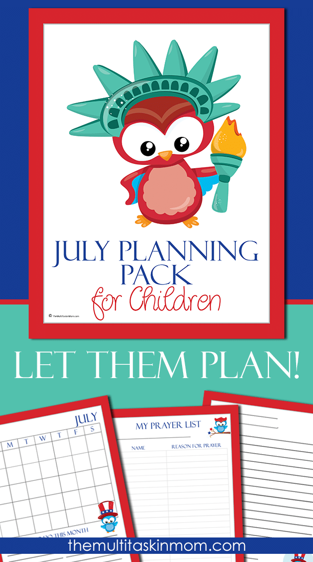 The July Planning Pack for Chilren is updated and ready for 2016 but completely undated