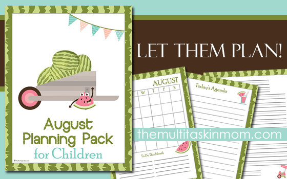 August Planning Pack for Children Updated for 2016