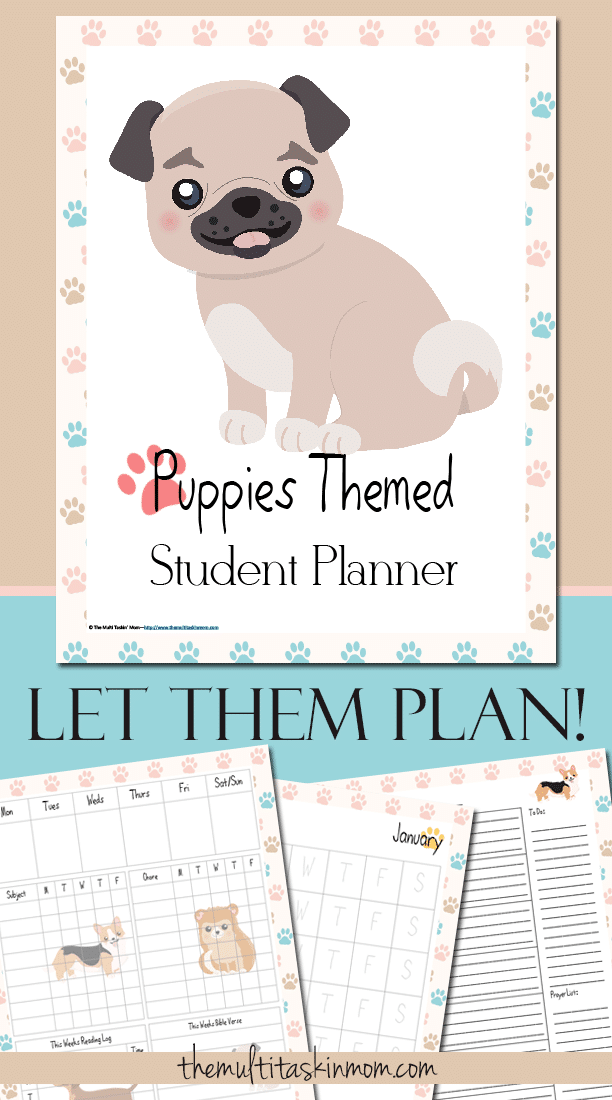 The Puppies Themed Student Planner will have your puppy lover excited to plan their school work