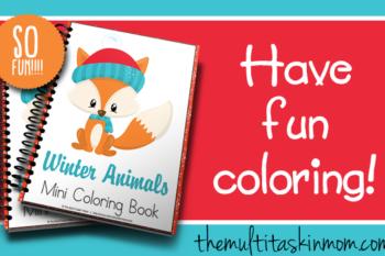Winter Animals Mini Coloring Book