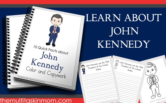 John Kennedy Facts – Color and Copywork