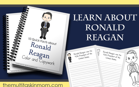 Ronald Reagan Facts – Color and Copywork