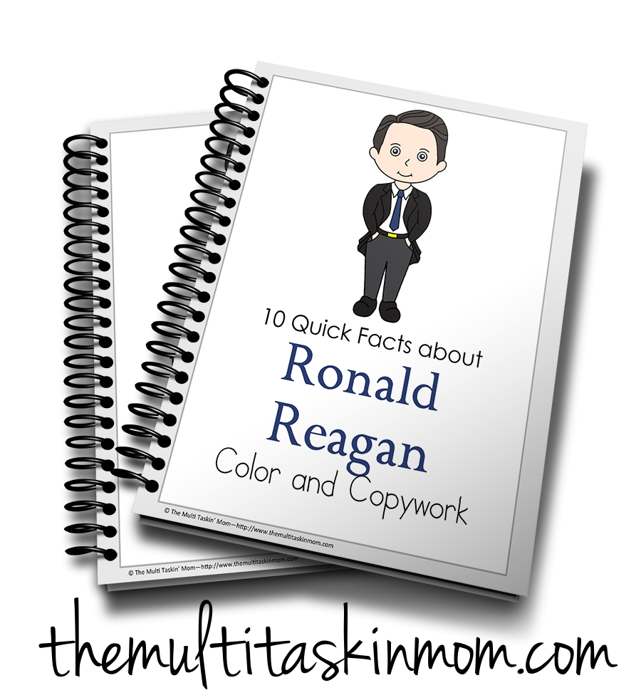 Ronald Reagan Color and Copywork