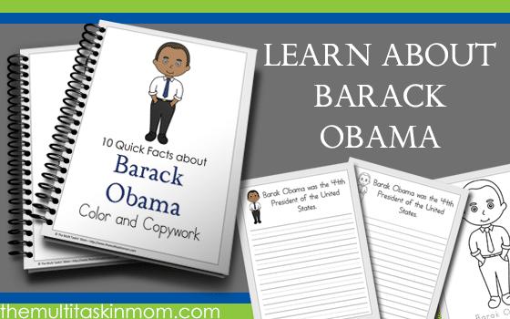 Barack Obama Facts – Color and Copywork