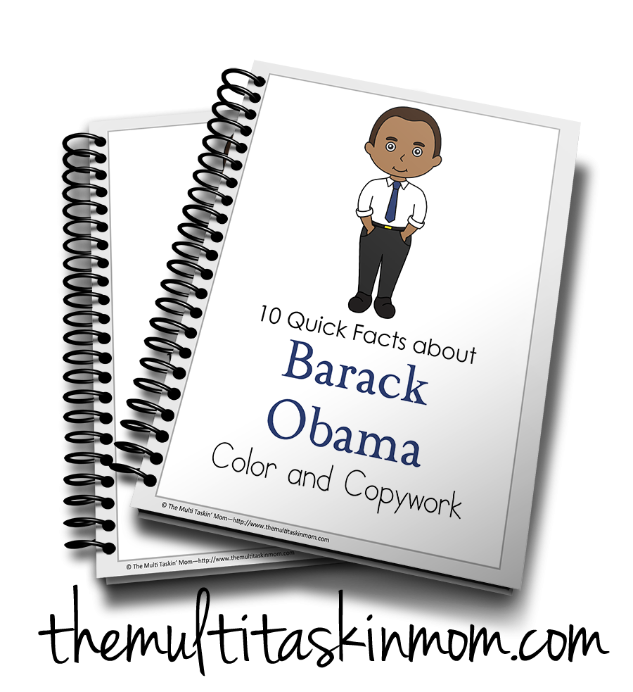 Barak Obama Color and Copywork