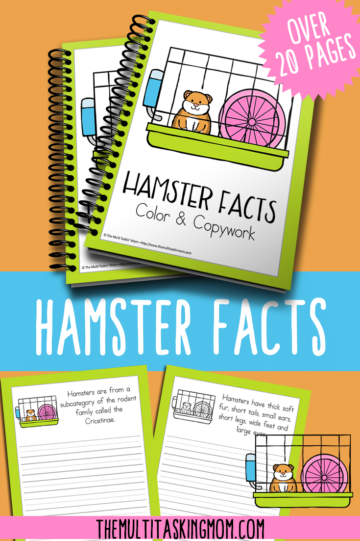 This fun color and copywork pack is perfect for teaching your children about their pet hamster.