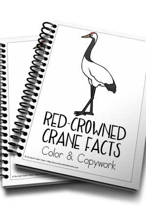 Red-Crowned Crane Color and Copywork