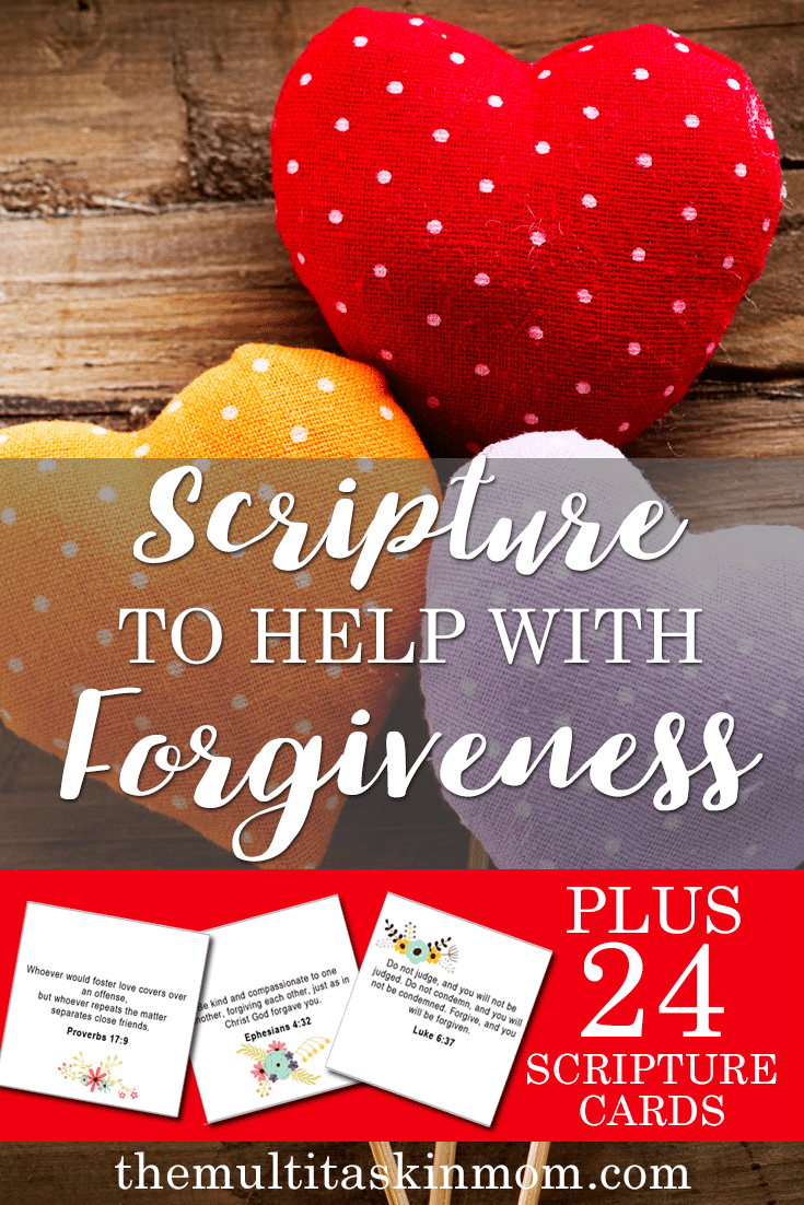 Scripture you can use to help with forgiveness! PLUS 24 scripture cards to carry in your purse.