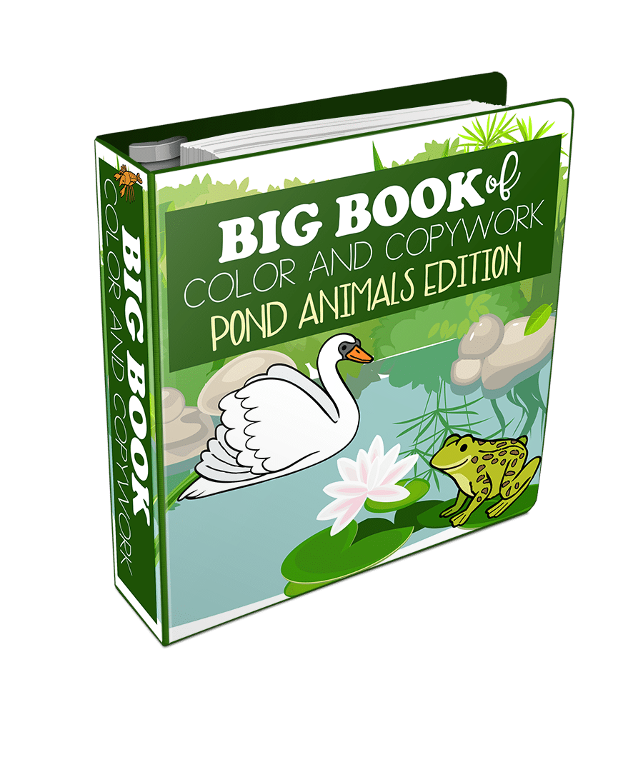 Big Book of Color and Copywork Pond Animals Edition 3D
