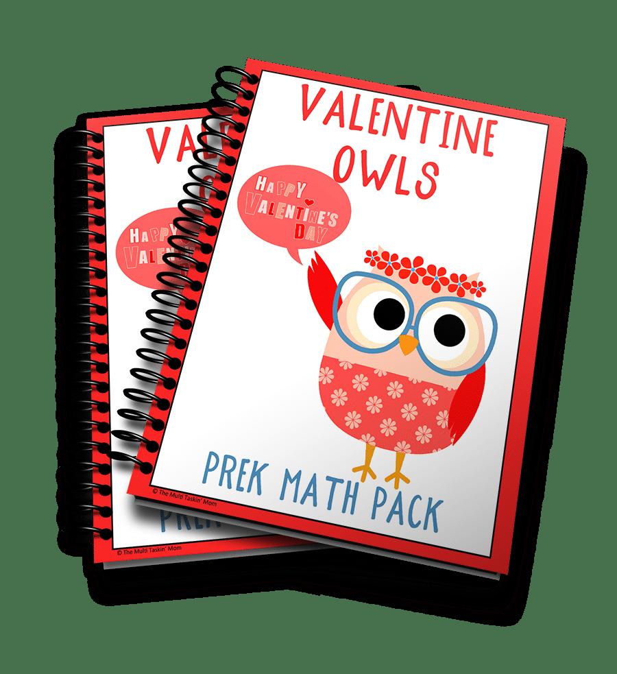 Valentine Owl Prek Math Pack 3D