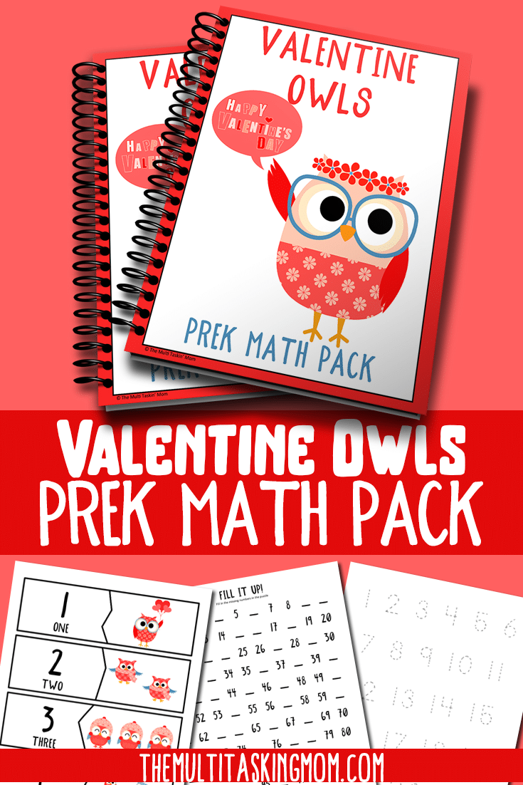 Valentine Owls Prek Math Pack is available now